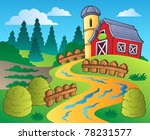country scene with red barn 4   ... | Shutterstock .eps vector #78231577