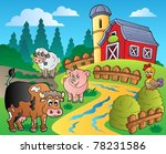 country scene with red barn 1   ... | Shutterstock .eps vector #78231586