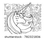 unicorn  rose flower  floral... | Shutterstock .eps vector #782321836