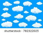 clouds set isolated on blue... | Shutterstock .eps vector #782322025