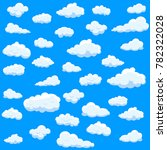 clouds set isolated on blue... | Shutterstock .eps vector #782322028