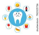food for unhealthy teeth... | Shutterstock .eps vector #782325736