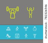exercise icons set with athlete ... | Shutterstock .eps vector #782326546