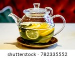 green tea with lemon in a glass ... | Shutterstock . vector #782335552