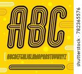 trendy retro uppercase alphabet ... | Shutterstock . vector #782365576