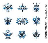 royal symbols  flowers  floral... | Shutterstock . vector #782366842