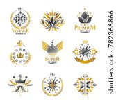 royal symbols  flowers  floral... | Shutterstock . vector #782366866