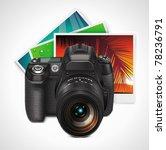 vector camera and photos xxl... | Shutterstock .eps vector #78236791