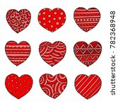 hand drawn red hearts vector... | Shutterstock .eps vector #782368948