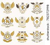 collection of heraldic... | Shutterstock . vector #782372998