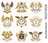 collection of heraldic... | Shutterstock . vector #782373028