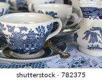 Close Up Of Cup Blue Patterned...
