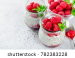 two glass jars with chia...   Shutterstock . vector #782383228