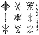 vintage weapon emblems set.... | Shutterstock . vector #782385232