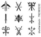 vintage weapon emblems set.... | Shutterstock . vector #782385232