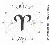 zodiac sign aries logo and fire ... | Shutterstock .eps vector #782394532