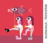 two nude women with big fish... | Shutterstock .eps vector #782423968