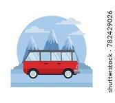 vintage van vehicle between... | Shutterstock .eps vector #782429026