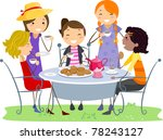illustration of ladies having a ... | Shutterstock .eps vector #78243127