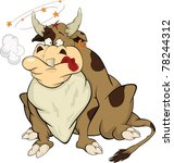 bull after bullfight. cartoon | Shutterstock .eps vector #78244312
