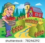 country scene with red barn 7   ... | Shutterstock .eps vector #78246292