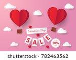 paper cut valentine sale... | Shutterstock .eps vector #782463562