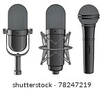 isolated image of microphones....