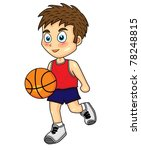 cute boy dribbling basketball | Shutterstock . vector #78248815