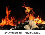 burn a lot of waste  garbage... | Shutterstock . vector #782505382