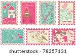 Cute retro wedding stamps