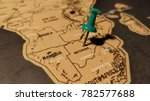 the green pin on the map of... | Shutterstock . vector #782577688