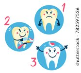 set of clean and dirty tooth on ... | Shutterstock .eps vector #782597536