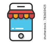 a shop shelter on android... | Shutterstock .eps vector #782603425