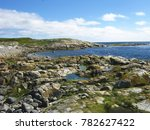 Small photo of An overview of the White sea coast line. A littoral tide zone with stones and aglae. Blue sky with some clouds.
