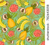 fruit colored flat pattern | Shutterstock .eps vector #782643058