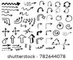 doodle vector arrows. isolated. ... | Shutterstock .eps vector #782644078