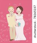cartoon just married couple... | Shutterstock .eps vector #78265237