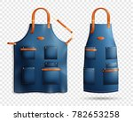 set of realistic blue aprons... | Shutterstock .eps vector #782653258