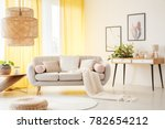 oversize lamp in light living... | Shutterstock . vector #782654212