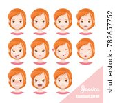 vector emotions facial set of... | Shutterstock .eps vector #782657752
