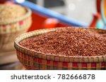 red cargo rice in thai... | Shutterstock . vector #782666878