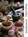 assortment of thai food cooking ... | Shutterstock . vector #782673916