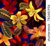 vivid tropical floral pattern... | Shutterstock . vector #782681956
