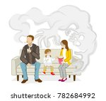 secondhand smoke issue   family   Shutterstock .eps vector #782684992