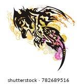 grunge mystic tribal phoenix...   Shutterstock .eps vector #782689516