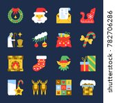 colorful cristmas icon set. new ... | Shutterstock . vector #782706286