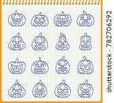 carving face halloween pumpkin... | Shutterstock . vector #782706292