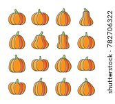 halloween pumpkin icon set.... | Shutterstock . vector #782706322