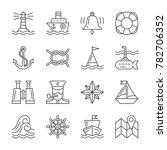 nautical thin line icon set.... | Shutterstock . vector #782706352