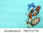 chocolate eggs and sweets on a... | Shutterstock . vector #782711776
